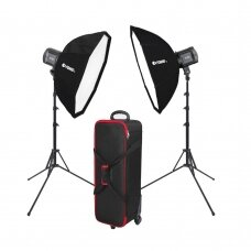 Šviestuvų komplektas Fomei LED 100/100BS Softbox Kit